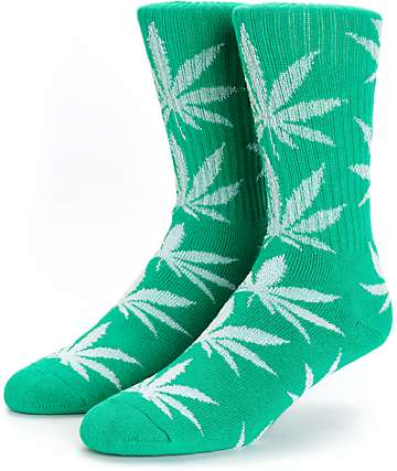 HUF Plantlife Glow In The Dark Crew Green Socks