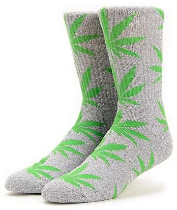 HUF Plantlife Grey & Green Crew Socks