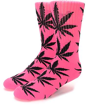 HUF Plantlife Highlighter Neon Pink Crew Socks
