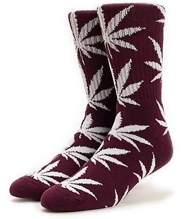 HUF Plantlife Maroon & White Crew Socks