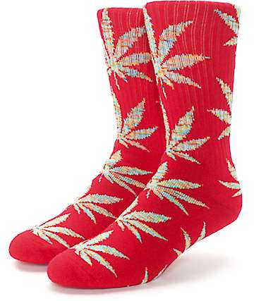HUF Plantlife Melange Red & Multi Colored Crew Socks
