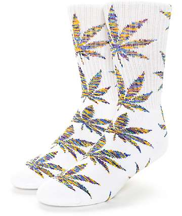 HUF Plantlife Melange White & Blue Crew Socks