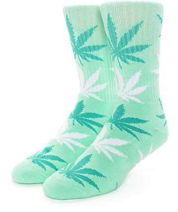 HUF Plantlife Mint, Dark Green, & White Crew Socks