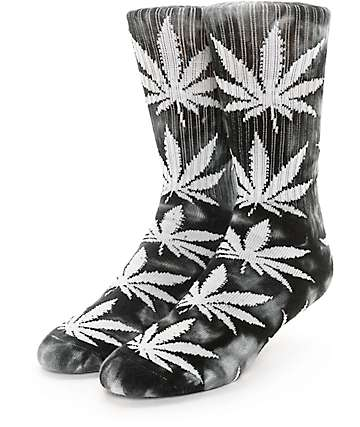 HUF Plantlife Tie Dye Black & Charcoal Crew Socks