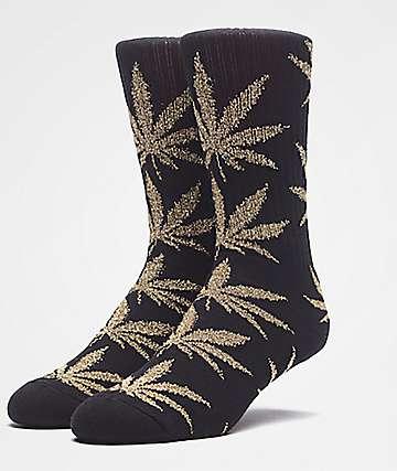 HUF Plantlife Tinsel calcetines en negro y oro metalizado