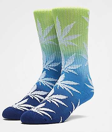 HUF Plantlife Trifade calcetines en verde, azul, y azul marino