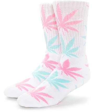 HUF Plantlife White, Pink & Turquoise Crew Socks