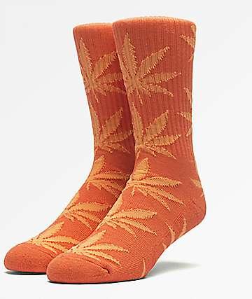 HUF Plantlife calcetines en color naranja y color naranja neón