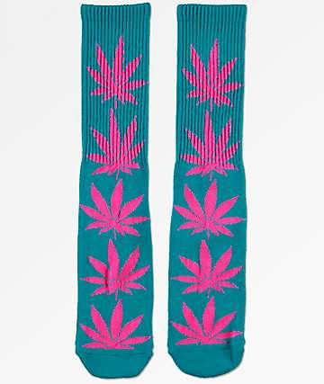 HUF Plantlife calcetines en verde azulado y magenta