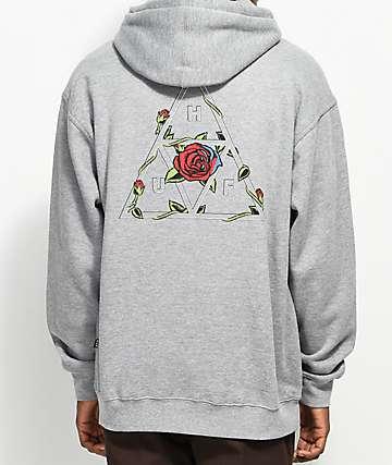 HUF Roses Triple Triangle Grey Hoodie