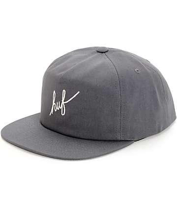 HUF Script Grey Snapback Hat