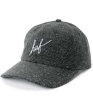 HUF Script Logo Black Tweed Strapback Hat