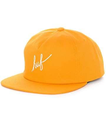HUF Script Mustard Snapback Hat