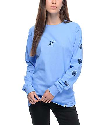 HUF Script Rose Light Blue Long Sleeve T-Shirt