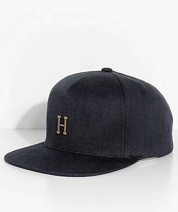 HUF Small Metal H Black Strapback Hat