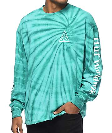 HUF Spiral Wash Aqua & White Long Sleeve T-Shirt