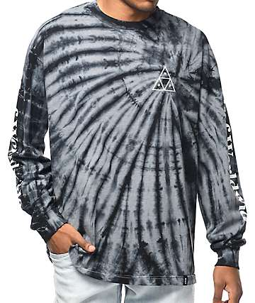 HUF Spiral Wash Black & Grey Long Sleeve T-Shirt