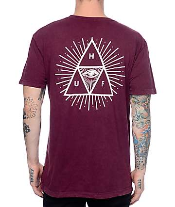 HUF Third Eye Mineral Wash Burgundy T-Shirt