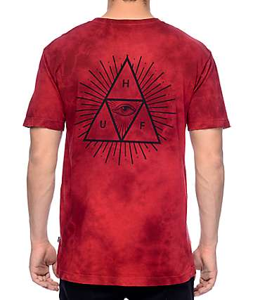 HUF Third Eye Triangle Red Tie Dye T-Shirt