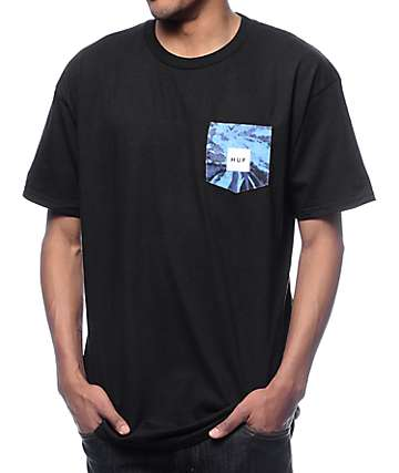 HUF Tie Dye Black Pocket T-Shirt