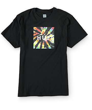 HUF Tie Dye Box Logo Black T-Shirt