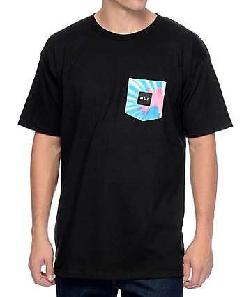 HUF Tie Dye Pocket Black T-Shirt