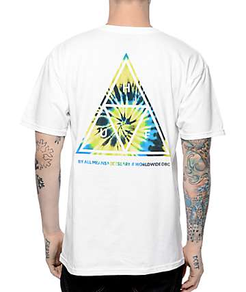HUF Tie Dye Triangle Fill White T-Shirt