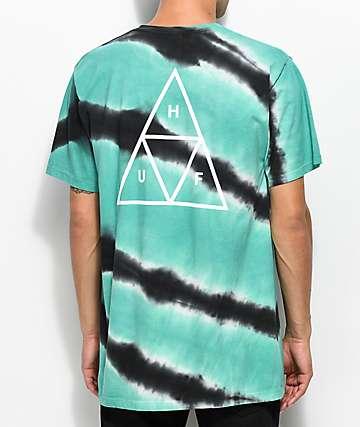 HUF Tiger Dye camiseta en verde azulado y gris