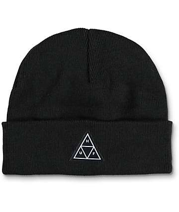HUF Triple Triangle Black Beanie