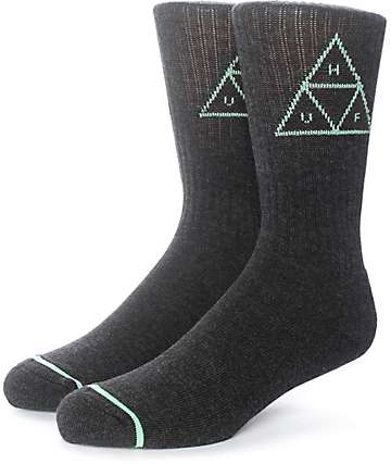 HUF Triple Triangle Heather Black Crew Socks