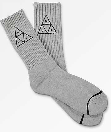 HUF Triple Triangle Heather Grey Crew Socks
