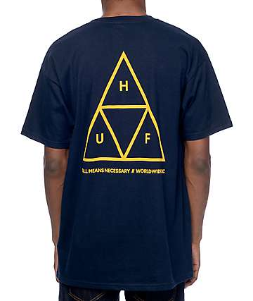 HUF Triple Triangle Navy & Gold T-Shirt