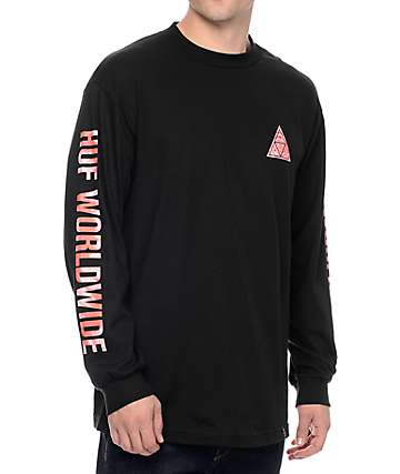 HUF Triple Triangle Red Tie Dye Black Long Sleeve T-Shirt