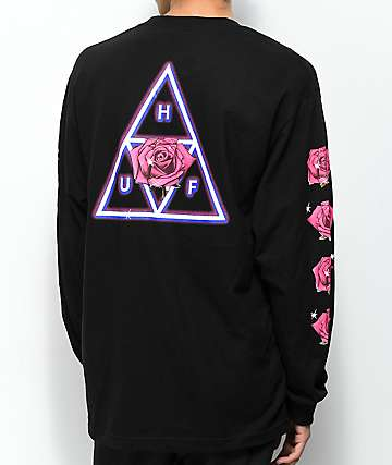 HUF Triple Triangle Rose Black Long Sleeve T-Shirt