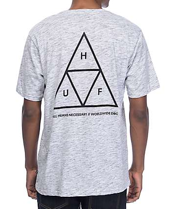 HUF Triple Triangle Streaky Heather Grey & White T-Shirt