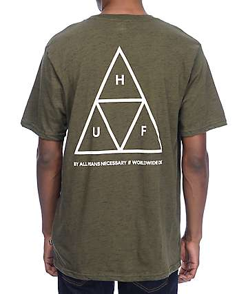 HUF Triple Triangle Streaky Heather Olive Green T-Shirt