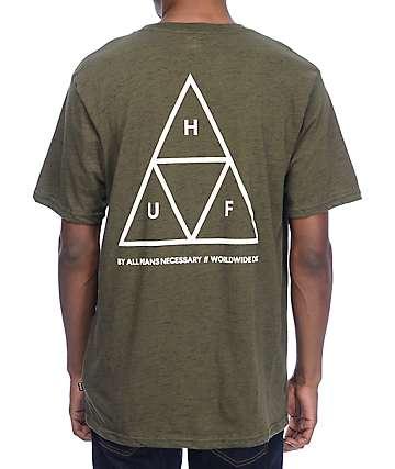 HUF Triple Triangle Streaky Heather Olive Green T-Shirt