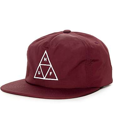 HUF Triple Triangle Wine Snapback Hat