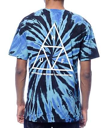 HUF Triple Triangle camiseta en tie dye azul