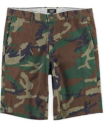 HUF Twill Woodland Camo Shorts