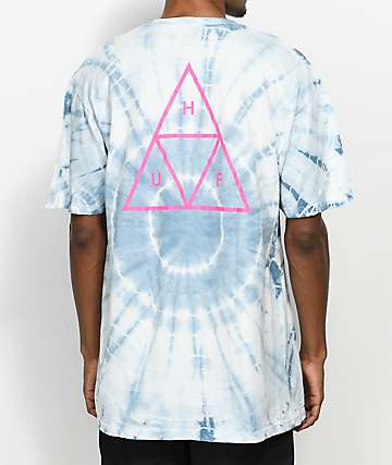 HUF Wash Triple Triangle White & Blue T-Shirt