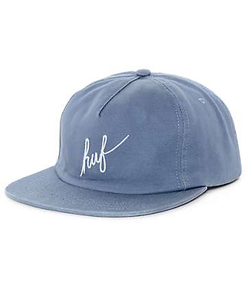 HUF Washed Script Slate Grey Snapback Hat
