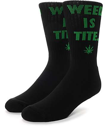 HUF Weed Is Tite Black Crew Socks