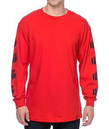 HUF Wildcat Long Sleeve Red T-Shirt