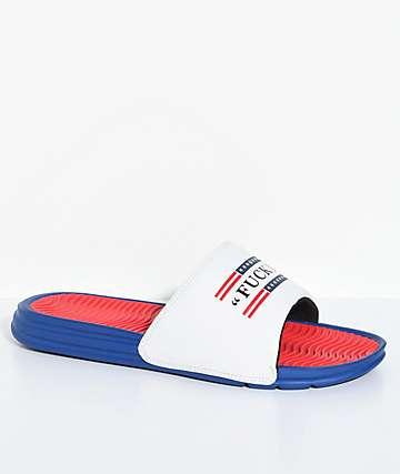 HUF sandalias en rojo, azul y blanco