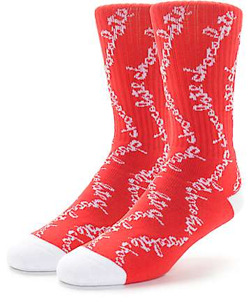 HUF x Chocolate Chunk Red Crew Socks