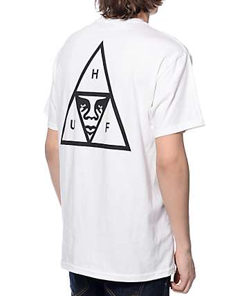 HUF x Obey Triple Triangle White Pocket T-Shirt