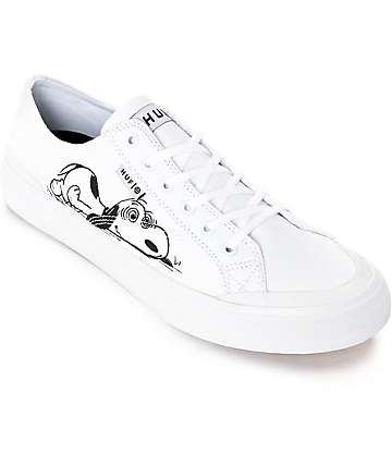 HUF x Peanuts Classic Lo White & Black Skate Shoes