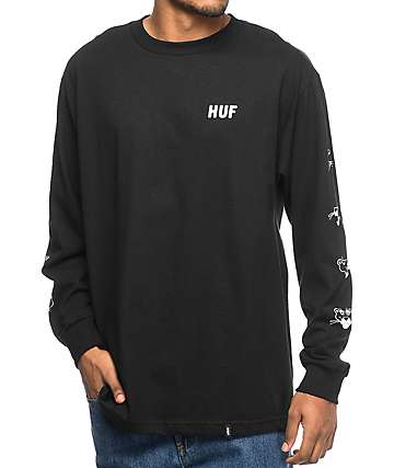 HUF x Pink Panther Heads camiseta negra de manga larga