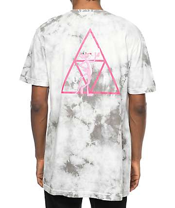 HUF x Pink Panther Triple Triangle Grey Tie Dye T-Shirt
